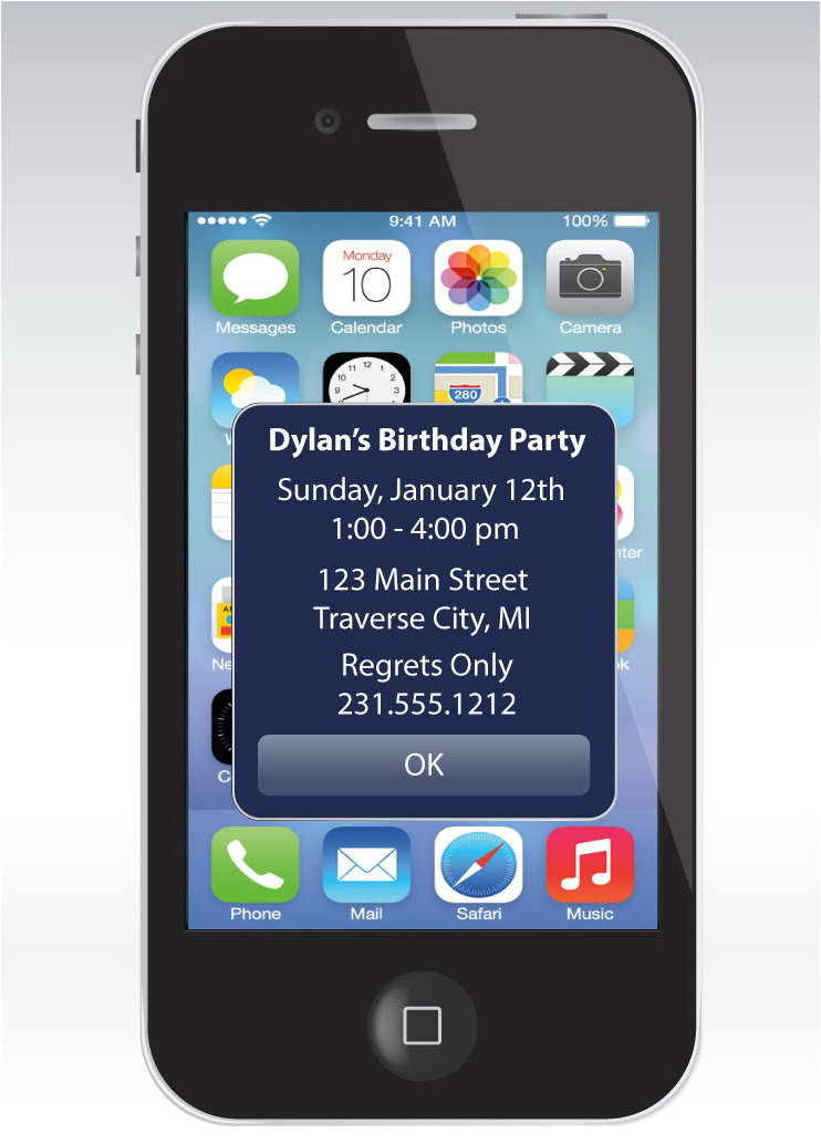 iPhone Party Invitation Template iPhone Alert Birthday Invitation Unique Birthday Party