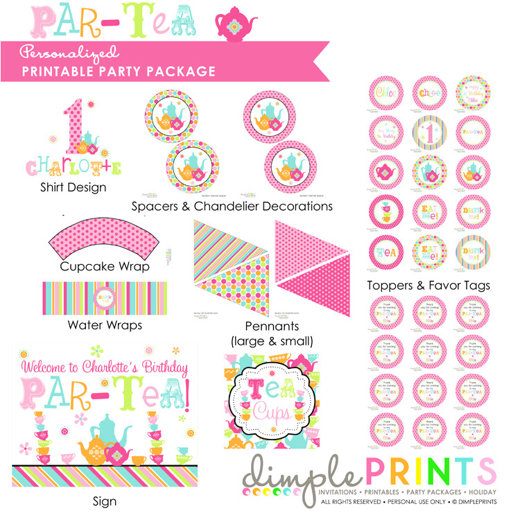 It Works Wrap Party Invitation Template Tea Party Partea Deluxe Printable Party Package Dimple