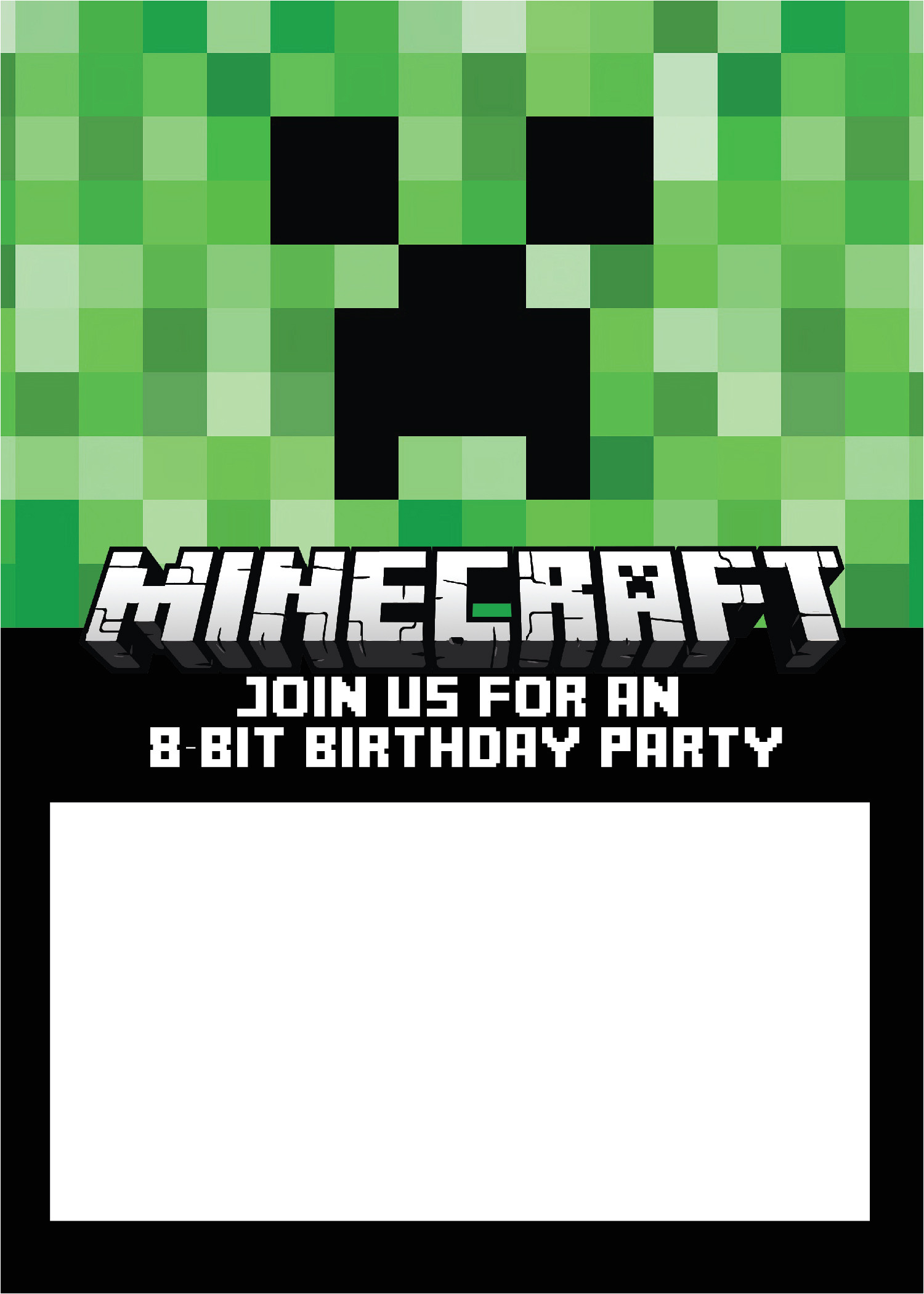 Minecraft Party Invitation Template 40th Birthday Ideas Minecraft Birthday Invitation