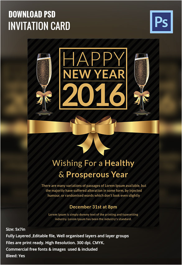 New Year Party Invitation Card Template 28 New Year Invitation Templates Free Word Pdf Psd