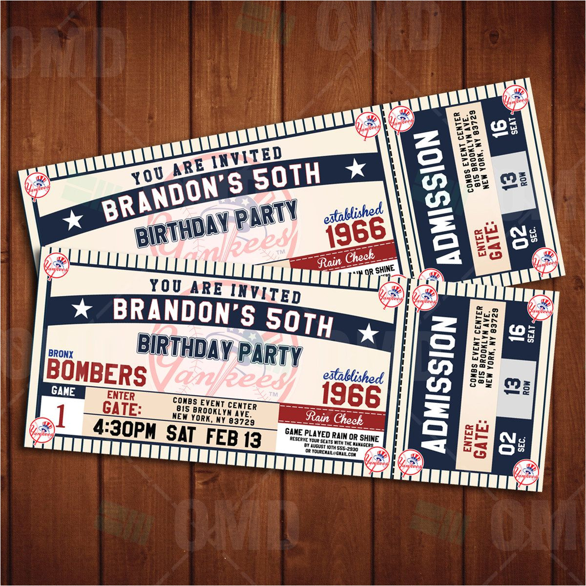New York Party Invitation Template New York Yankees Classic Ticket Sports Party Invitations