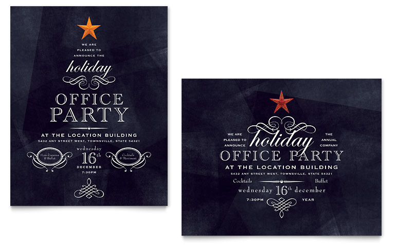 Office Christmas Party Invitation Template Free Office Holiday Party Poster Template Word Publisher