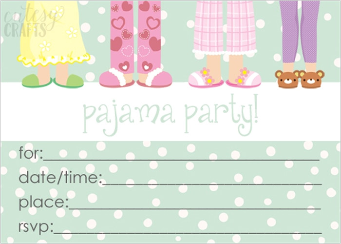 Pajama Party Invitation Template Milk and Cereal Pajama Party Cutesy Crafts