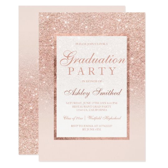 Party Invitation Template Rose Gold Faux Rose Gold Glitter Elegant Graduation Party Invitation