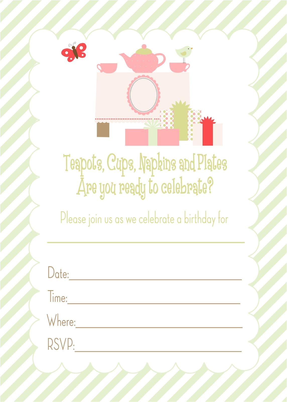Party Invitation Template Worksheet Free Printable Tea Party Birthday Invitation Free