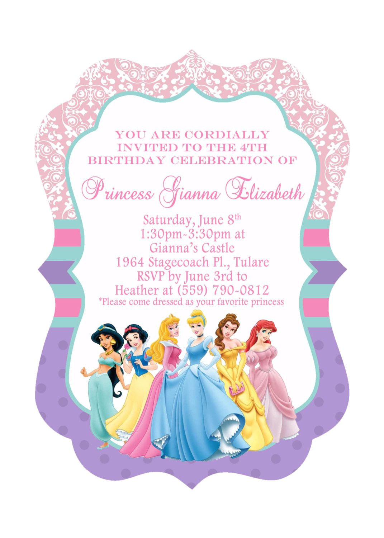 Princess Party Invitation Template Disney Princesses Birthday Invitations Disney Princess