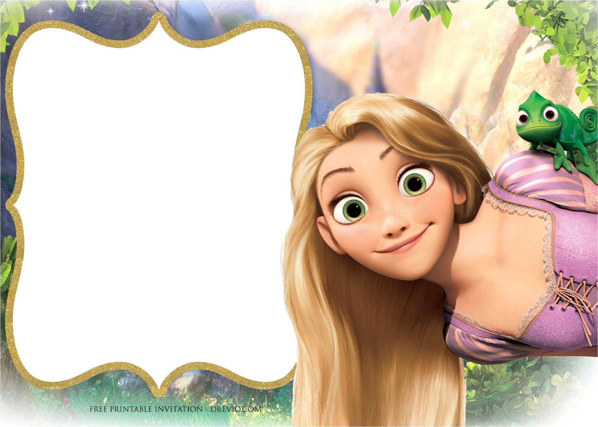 Rapunzel Birthday Invitation Template Free Printable Princess Rapunzel Invitation Templates