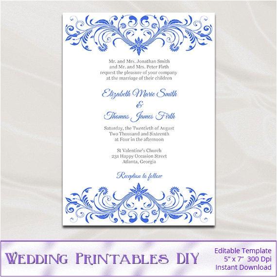 Royal Wedding Invitation Template Free Royal Blue Wedding Invitation Template Diy Printable Birthday