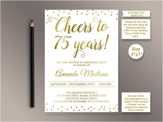 Ve Day Party Invitation Template Editable 75th Birthday Party Invitation Template Cheers to