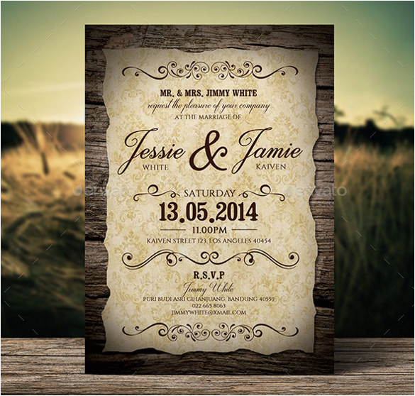 Vintage Wedding Invitation Template 23 Vintage Wedding Invitation Free Psd format Download