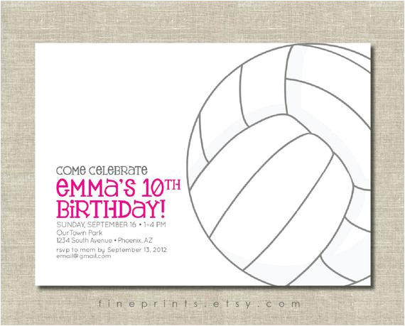 Volleyball Party Invitation Template Volleyball Party Invitation
