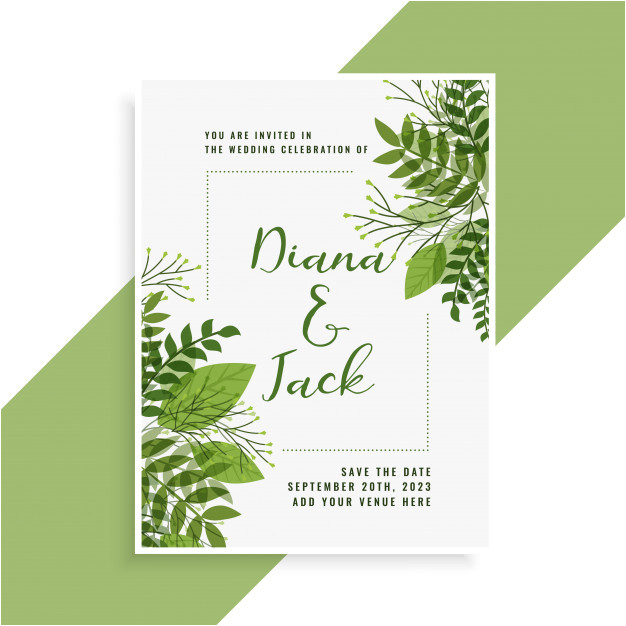 Wedding Invitation Designs Green Wedding Invitation Card Design In Floral Green Leaves