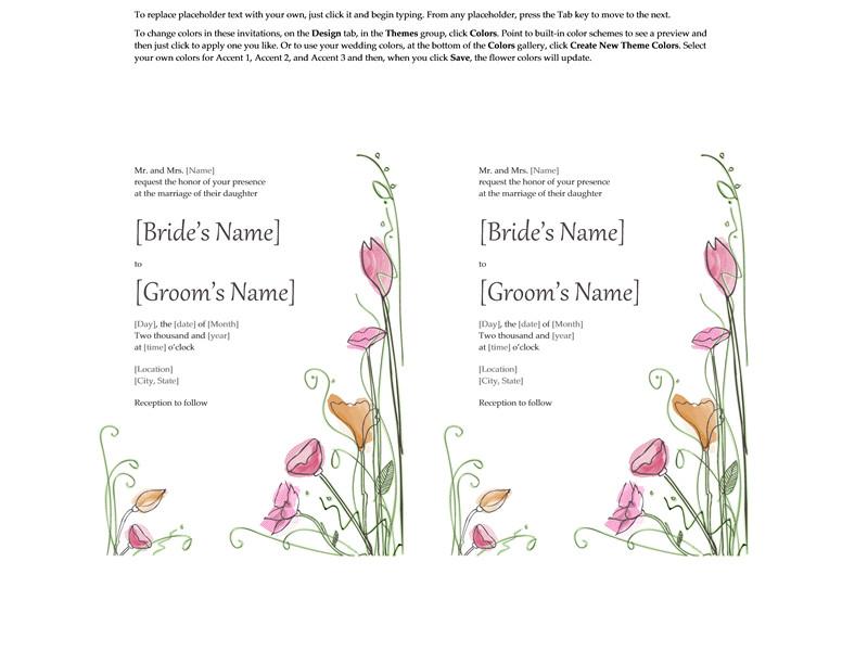 Wedding Invitation Template for Microsoft Word Microsoft Word 2013 Wedding Invitation Templates Online