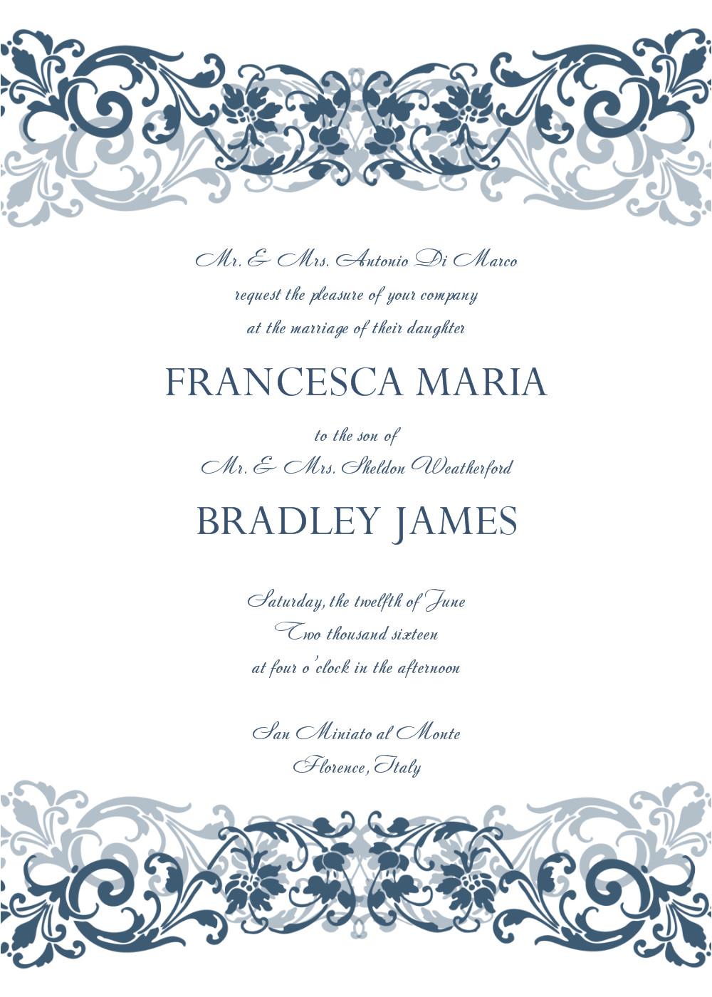 Wedding Invitation Template On Word 8 Free Wedding Invitation Templates Excel Pdf formats