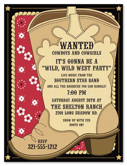 Western theme Party Invitation Template Cowboy Invitations Template Best Template Collection