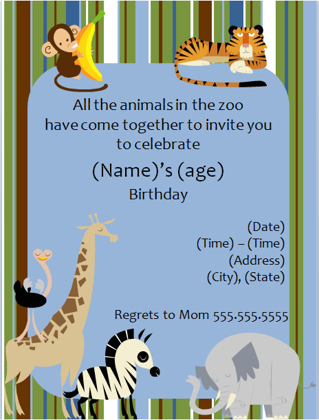 Zoo Animal Party Invitation Template 40th Birthday Ideas Free Animal Birthday Invitation Templates