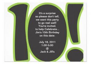 10th Birthday Invitation Quotes 10th Birthday Invite 5 Quot X 7 Quot Invitation Card Zazzle