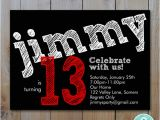 12 Year Old Boy Birthday Party Invitation Template Teen Boy 39 S Birthday Invitation Red Chalk Lettering