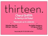13th Birthday Invitations for Girls Thirteen Pink 13th Birthday Invitations