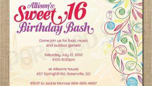 16 Year Old Birthday Party Invitations Sweet 16 Birthday Invitations Templates Free Sweet 16