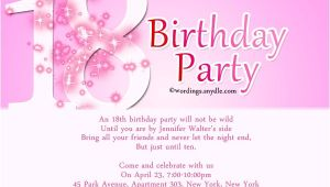 18th Birthday Invitation Sample 18th Birthday Party Invitation Wording Wordings and Messages