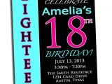 18th Birthday Party Invitations Free 18th Birthday Pink Black and Cyan Party Printable