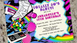 1980s Birthday Party Invitations totally 80s 1980s themed Birthday Party Invitations