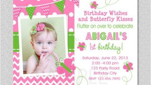 1st Birthday butterfly Invitation Wording butterfly Birthday Invitation butterfly Invitation Girl