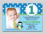 1st Birthday Invitation Frames Penguin Birthday Invitation Penguin 1st Birthday Party Invites