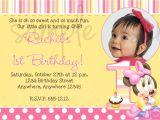 1st Birthday Invitation Ideas Wordings Minnie Mouse 1st Birthday Invitation