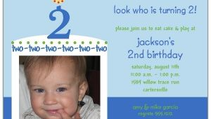 2nd Birthday Invitation Wording for Boy Birthday Cake Boy Photo Second Birthday Invitations