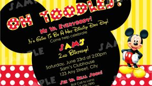2nd Birthday Invitation Wording Mickey Mouse Printable Mickey Mouse Red White Yellow Birthday by