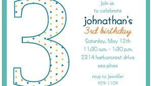 3rd Birthday Invitation Wording Boy 3rd Birthday Boy Dots Invitations
