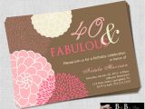 40 Year Birthday Invitation Template 40 and Fabulous 40th Birthday Invitation Pink Brown