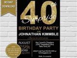 40 Year Birthday Invitation Template 40th Surprise Birthday Invitation 40th Birthday Invite