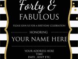 40 Year Birthday Invitation Template forty Fabulous 40th Birthday Invitation Template Psd