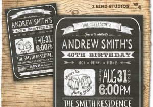40th Birthday Invitation Wording for Man 30th Birthday Invitation Male Birthday Party by 2birdstudios