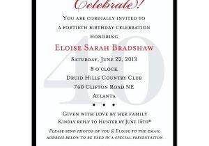 40th Birthday Invitation Wording for Man 40th Birthday Invitation Template for Men