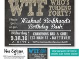 40th Birthday Invitation Wording for Man 40th Birthday Party Invitation Wtf who S Turning forty