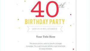 40th Birthday Invite Language Free 40th Birthday Party Invitation Templates Image