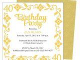 40th Birthday Party Invitations Templates Free 40th Party Invitation Template Free