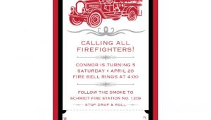 4×8 Wedding Invitations Vintage Firetruck Birthday Party Printable 4×8 Invitation