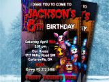 5 Nights at Freddy S Birthday Invitations Five Nights at Freddy S Invitation 5 Nights at by