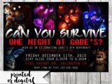 5 Nights at Freddy S Birthday Invitations Five Nights at Freddys Invitation Five by Agmprintabledesigns