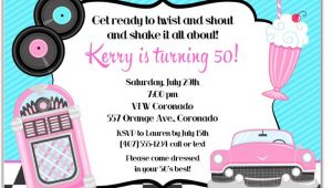 50s Party Invitation Templates Free 50s theme Birthday Party Invitations