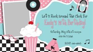 50s theme Party Invitations 50 39 S Fifties theme Birthday Party Inivtation