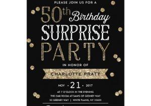 50th Anniversary Surprise Party Invitations 50th Glitter Confetti Surprise Party Invitation Zazzle Com