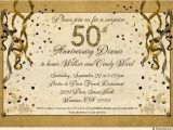 50th Anniversary Surprise Party Invitations Festive 50th Anniversary Party Invitation Gold Streamer
