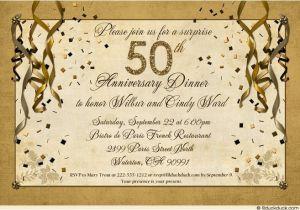 50th Anniversary Surprise Party Invitations Festive 50th Anniversary Party Invitation Gold Streamer