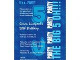50th Birthday Invitation Ideas for Him 50th Birthday for Him Royal Blue and Aqua W1503 5×7 Paper